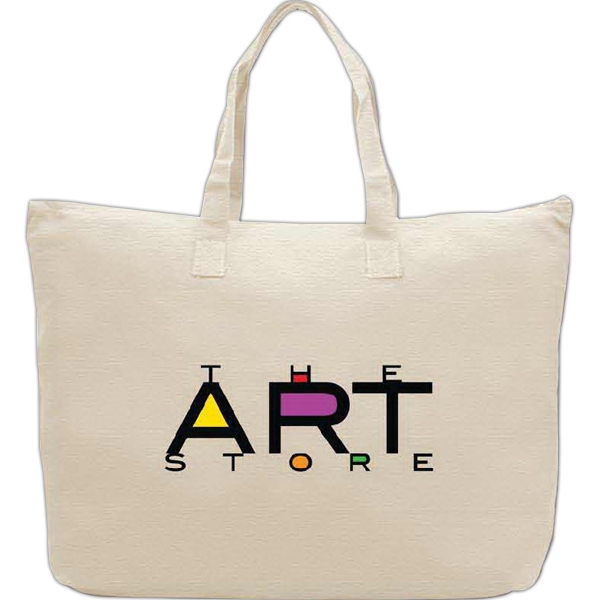 Customized 100% Cotton Tote Bag With Zipper