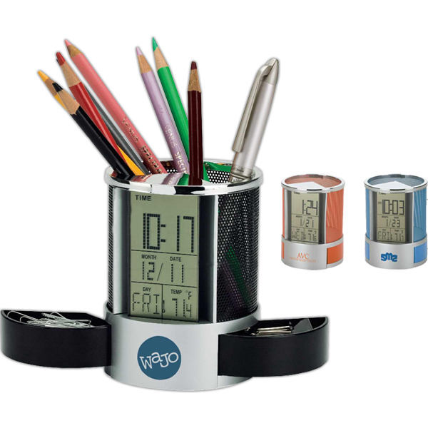Personalized Clock/ Organizer with Mesh Pen Cup