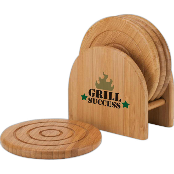 Custom Bamboo 4-Piece Coaster Set