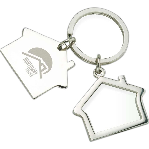 Imprinted House shaped key ring