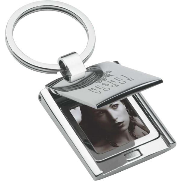 Imprinted Chrome Finish Keyring