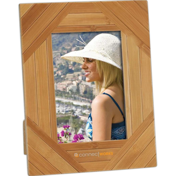 Personalized Stripe Design Bamboo Photo Frame