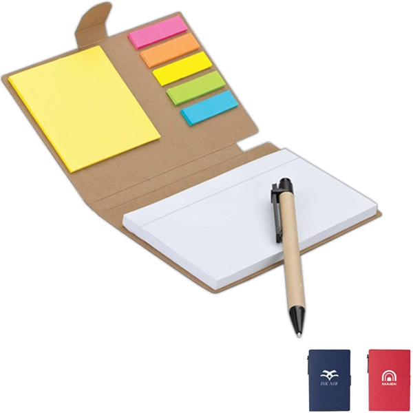 Imprinted Recycled Pen, Note & Flag Set