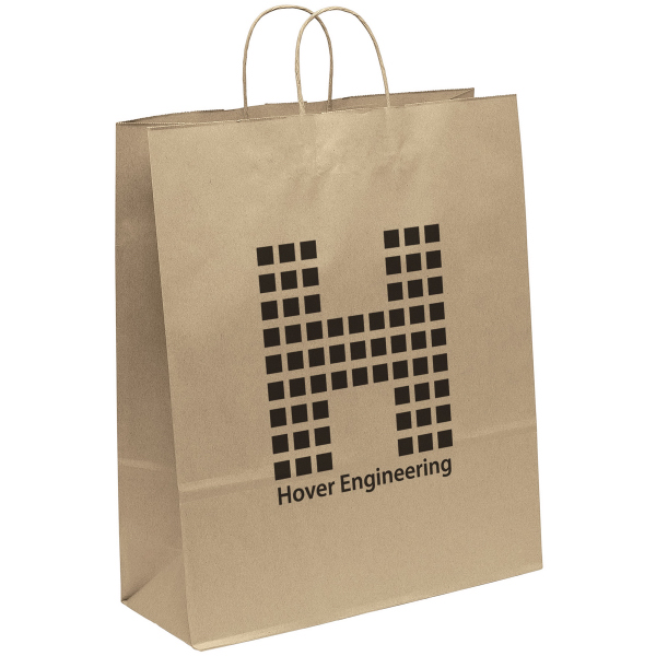 Imprinted Eco Stephanie Kraft Paper Shopper Bag