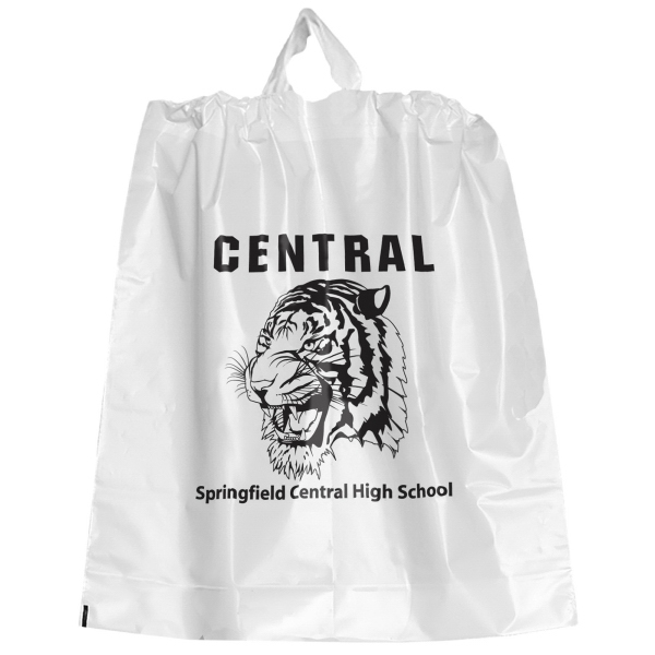 Personalized Poly Draw Bag - White
