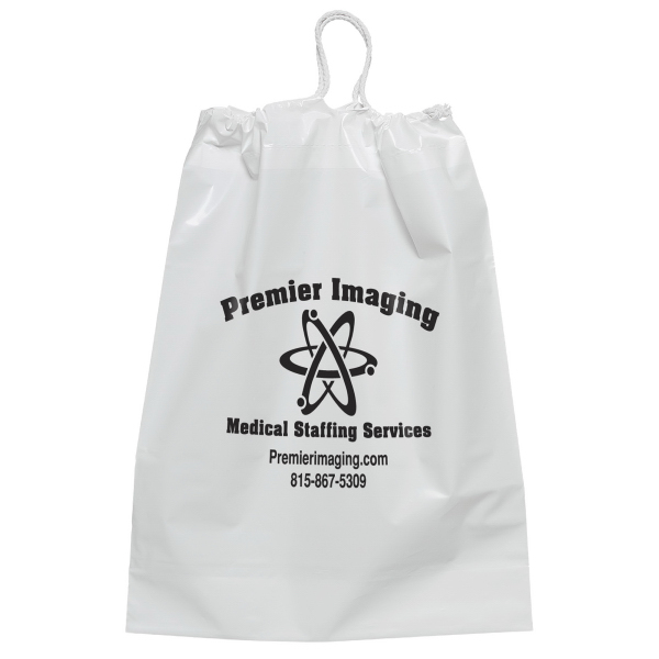 Imprinted White Cotton Draw String Bag