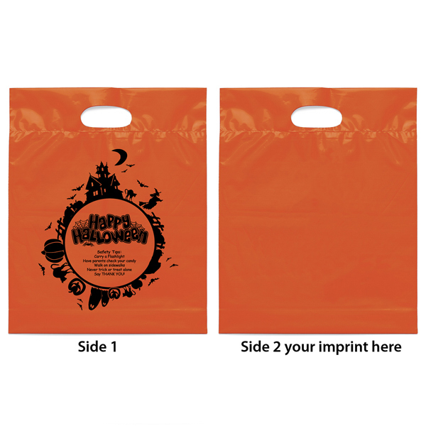 Personalized Halloween Orange Die Cut Handle Bag with Fright Night Design