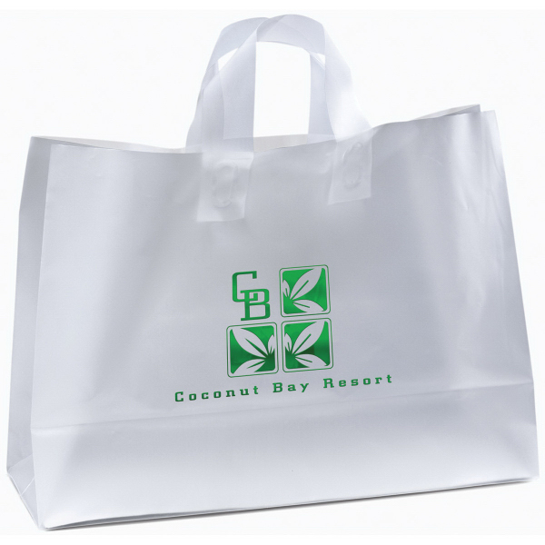 Imprinted Saturn Frosted Shopper Plastic Bag
