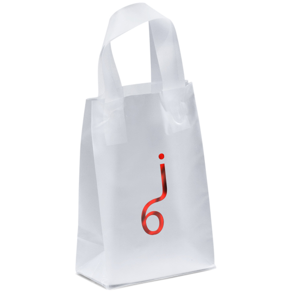 Imprinted Pluto Frosted Shopper Plastic Bag