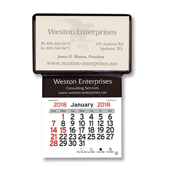 Custom Adhesive Business Card Holder Calendar