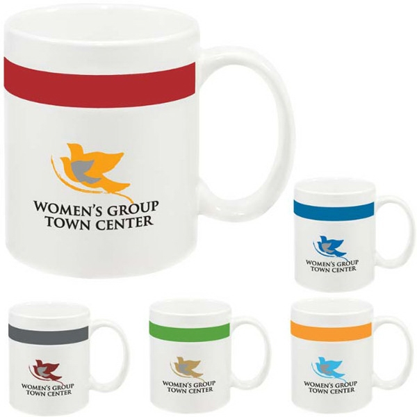 Personalized Color Stripe Mug - 11 oz