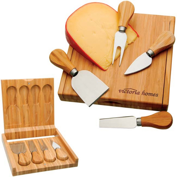 Imprinted Bamboo Cheese Set
