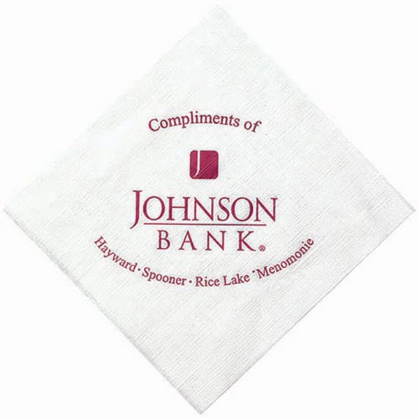 Printed 1-Ply White Beverage Napkin with Linen Embossing