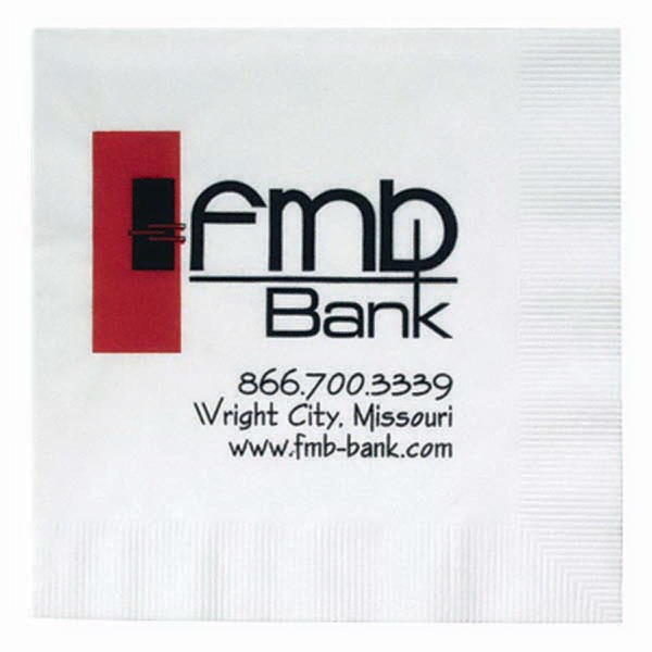 Customized 1-Ply White Beverage Napkin with Coin Edge