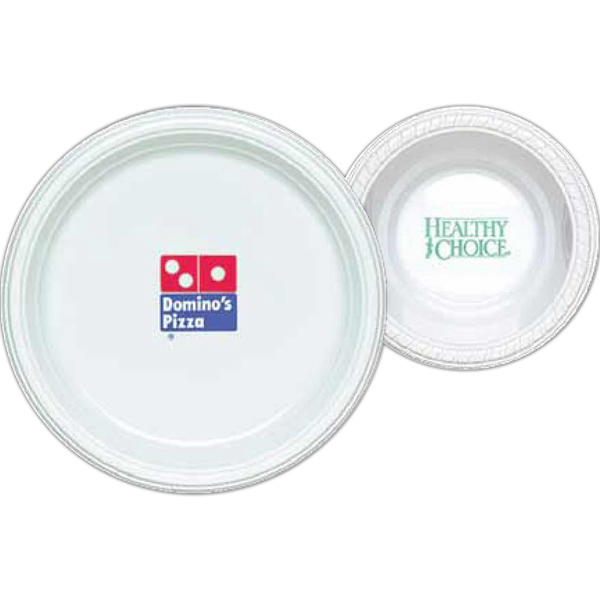 "Customized 7"" Round, White Plastic Plate"