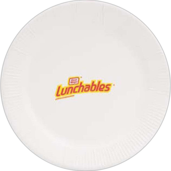 "Customized 9"" Round, White Paper Plate"