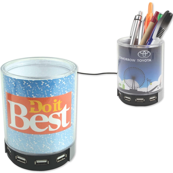 Promotional Pen cup with 4-port USB hub
