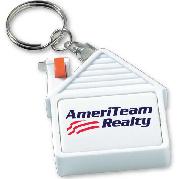 Imprinted House tape measure key tag