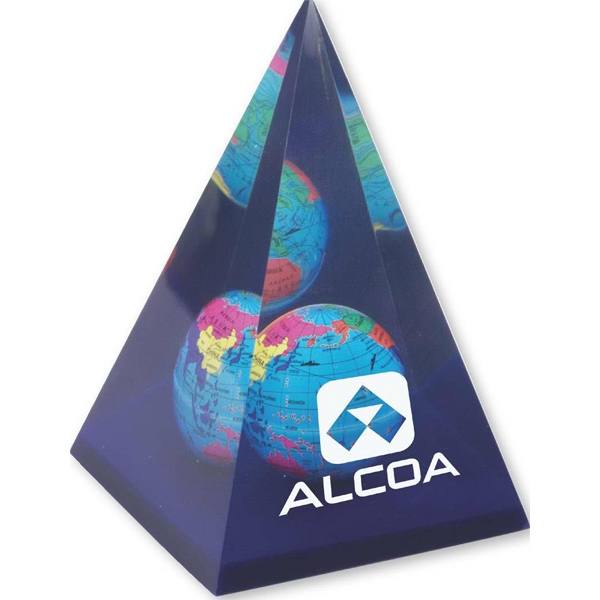 Customized Acrylic Pyramid Globe Paperweight