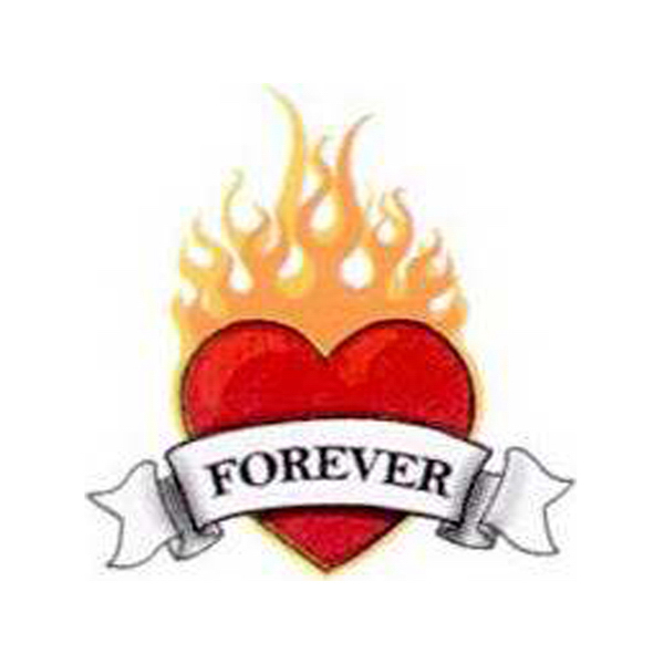 Custom Temporary Flaming Heart with Forever Banner Tattoo