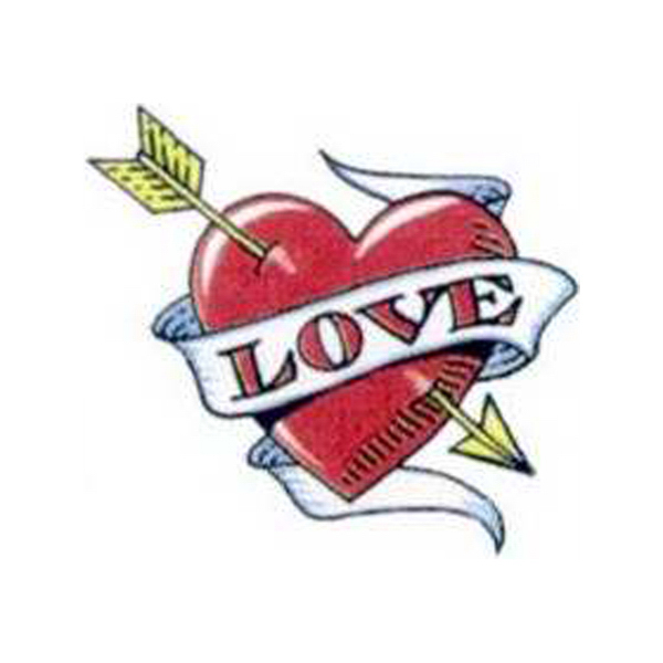 """Customized Temporary Valentine Heart with """"Love"""" Tattoo"""
