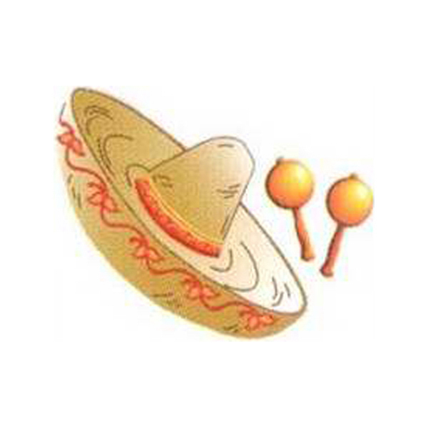 Personalized Temporary Sombrero with Maracas tattoos