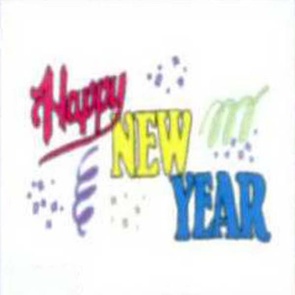 Imprinted Temporary Happy New Year with confetti and ribbons Tattoo