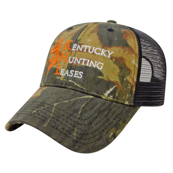 Personalized Solid Color Mesh Back Camo Cap