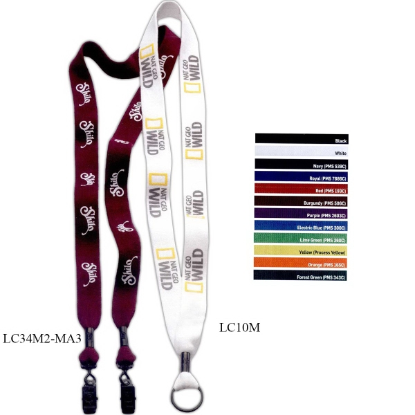 "Imprinted 1"" Cotton Lanyard w/Metal Crimp & Metal Split-Ring"