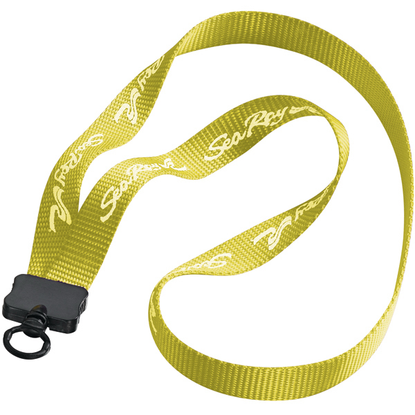 "Custom 3/4"" Woven Nylon Lanyard with Plastic Clamshell & O-Ring"