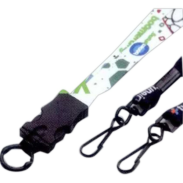 "Custom 1/2"" Lanyard w/Plastic Snap-Buckle Release & O-Ring"