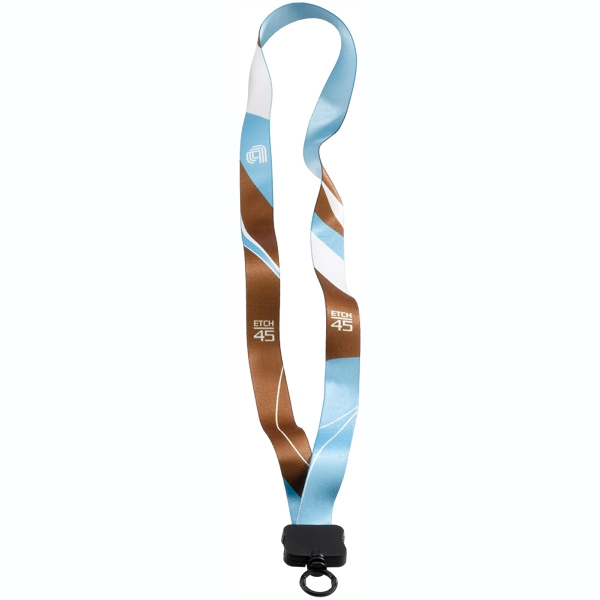 "Personalized 3/4"" Dye-Sublimated Lanyard with Plastic Clamshell & O-Ring"