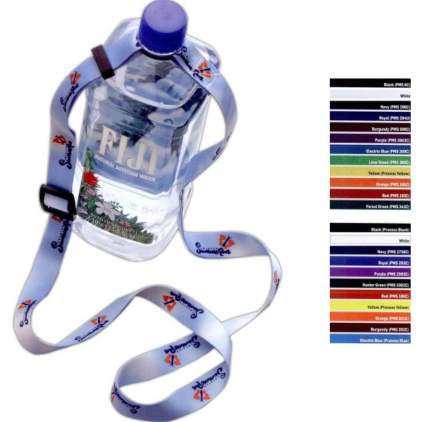 "Imprinted 3/4"" RPET Adjustable Dye Sublimated Water Bottle Strap"