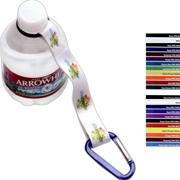 "Personalized 3/4"" RPET Dye Sublimated Water Bottle Strap with Carabiner"