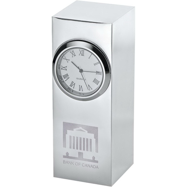 Printed Radiance Silver Plated Column Clock