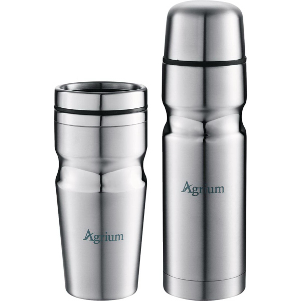 Imprinted Deco Band Insulated Bottle and Tumbler Gift Set 18 oz