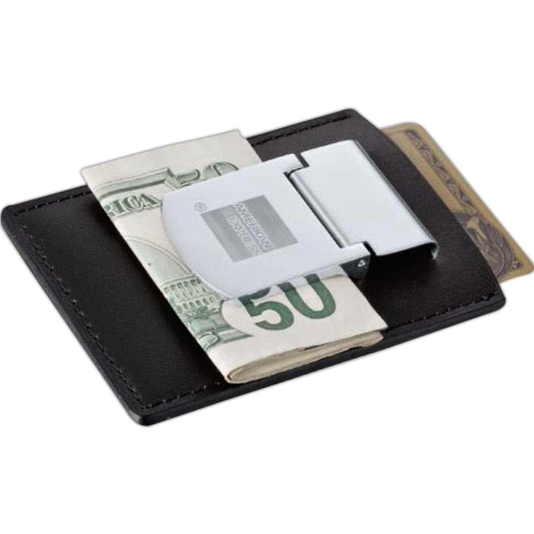 Printed Zippo (R) Spring Loaded Leather Money Clip