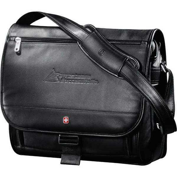 Personalized Wenger (R) Executive Leather Compu-Saddle Bag