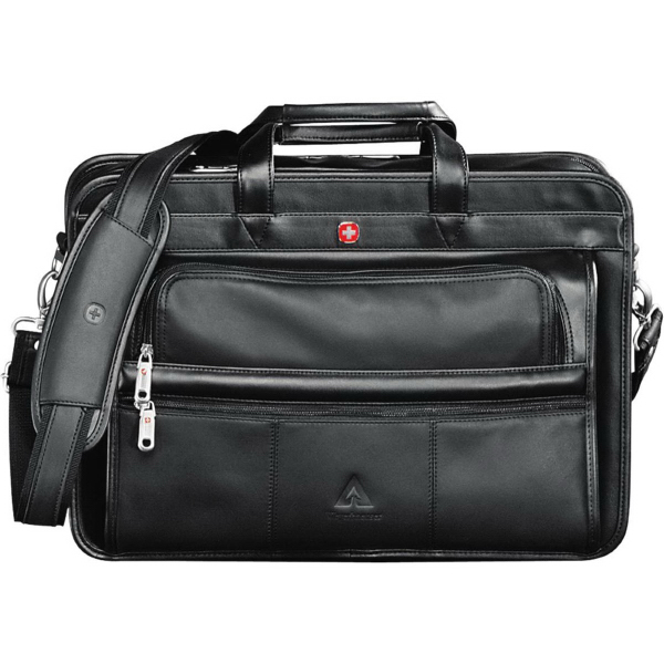 Imprinted Wenger (R) Leather Double Compartment Attache
