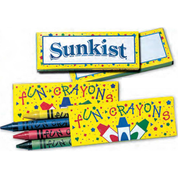 "Personalized Four Pack of Crayons in ""Confetti"" Box - Imprinted"