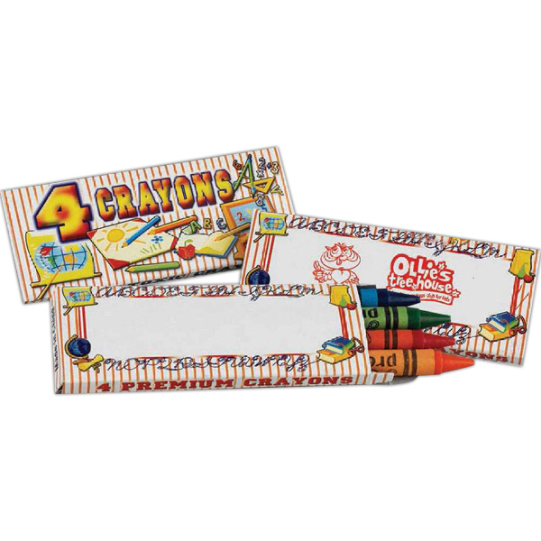 """Imprinted Four Pack of Crayons in """"School Themed"""" Box - Imprinted"""