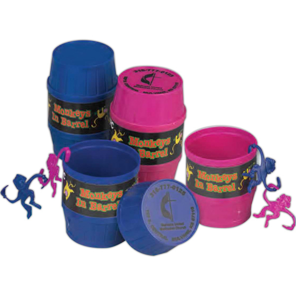 Customized Clown Monkeys In A Plastic Barrel (Imprinted)