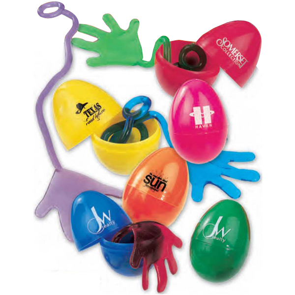 Personalized Sticky Hand in an Egg (Imprinted)