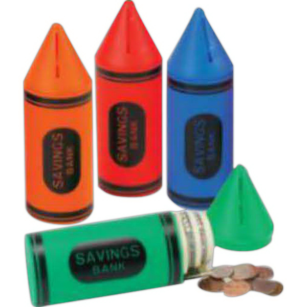 Personalized Crayon Shaped Bank with Stock Graphics (Imprinted)