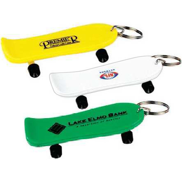 Printed Solid Skateboard Key Chain (Imprinted)