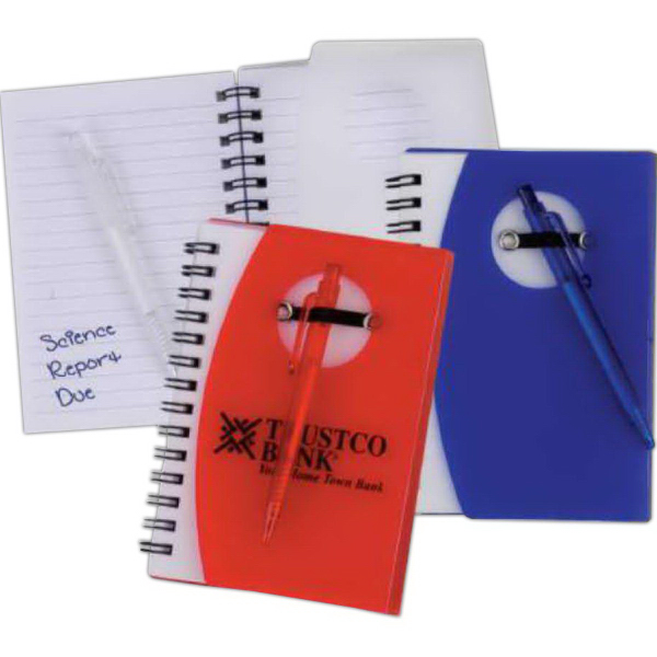 Customized Pocket Spiral Notebook with Pen (Imprinted)