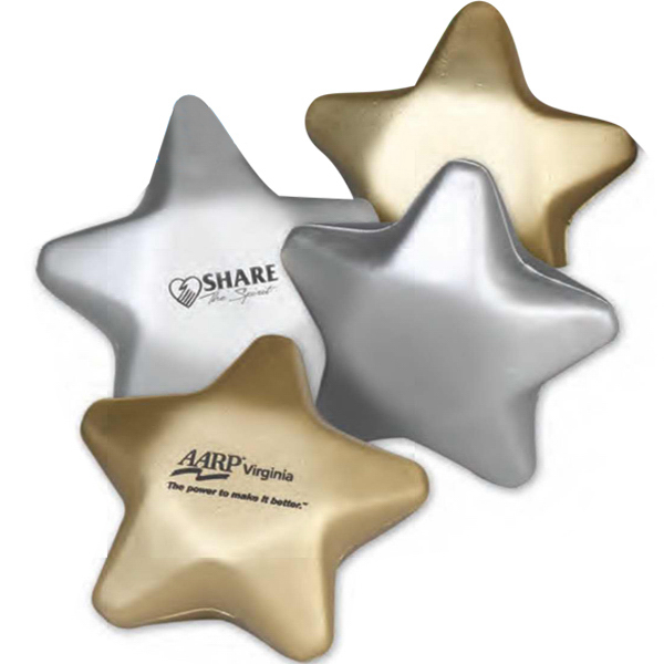 "Promotional 3"" Metallic Foam Stress Stars (Imprinted)"
