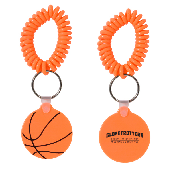 Imprinted Basketball Key Chain with Coil