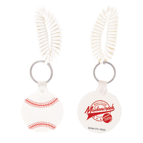 Customized Baseball Key Chain with Coil