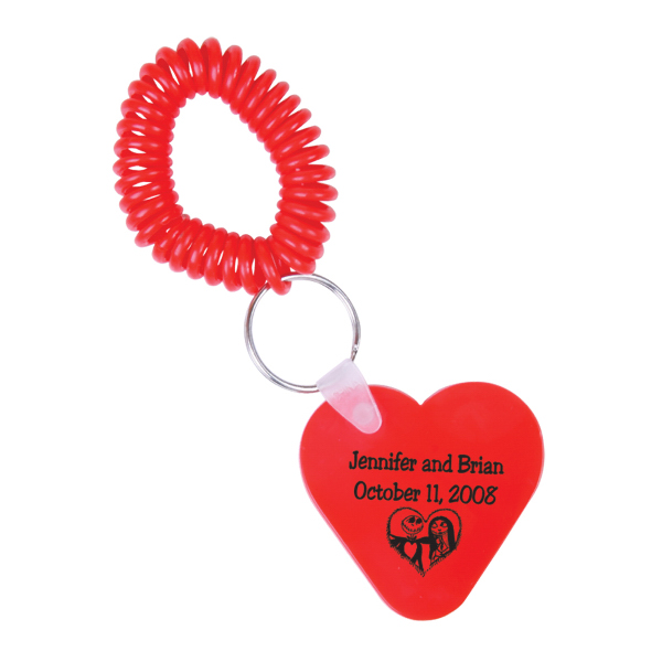 Personalized Heart Key Chain with Coil